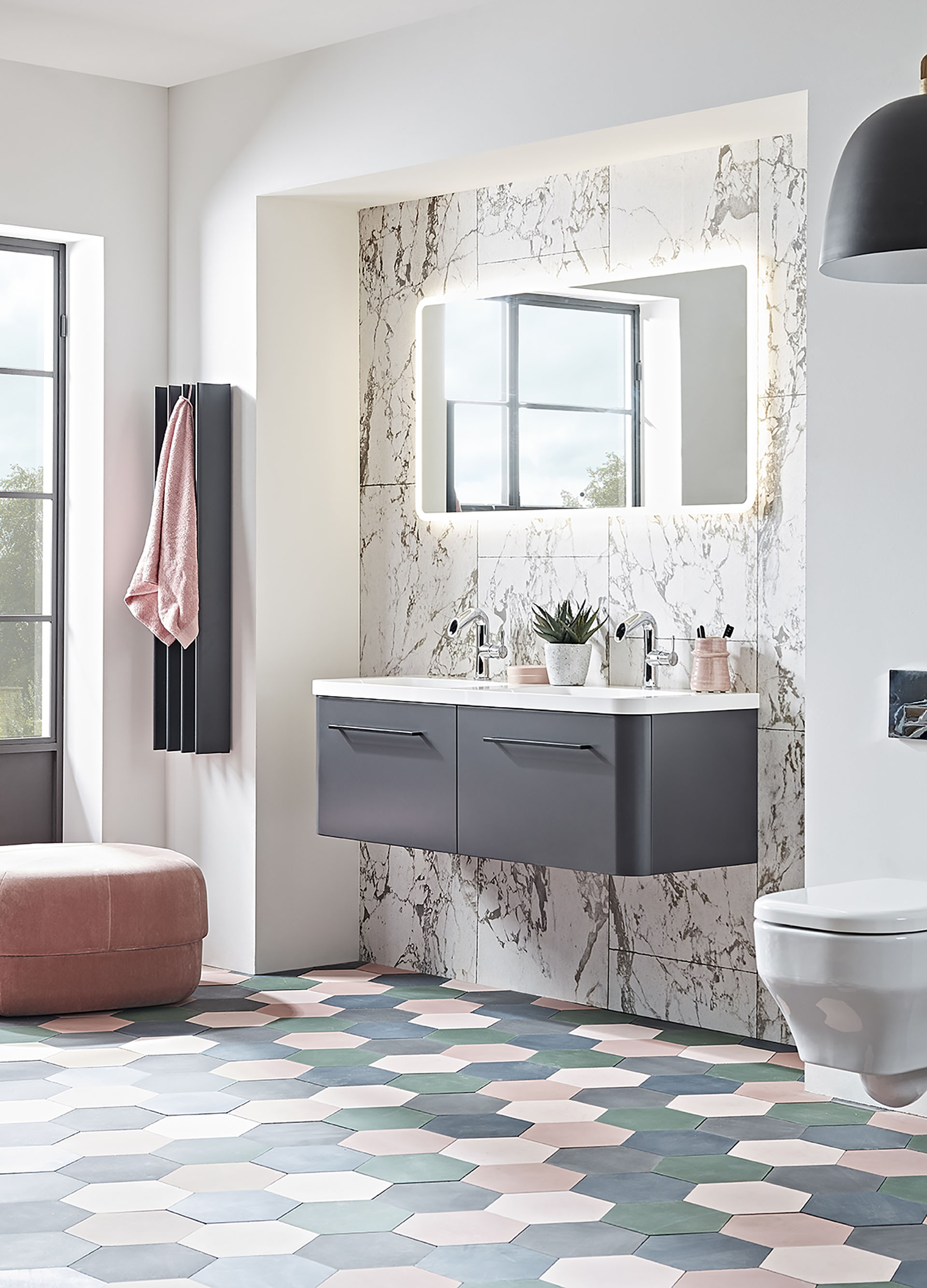 Roper Rhodes Bathrooms-System 1200 matt carbon iso roomset lifestyle (2)